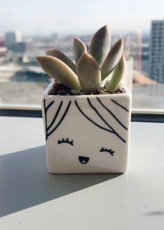 Small Cute Succulent Planter - Happy Smiley Cute