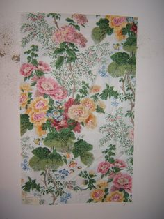 Larry /Lee Jofa Fabric Remnants for Crafts Glazed Cotton Hollyhock Hand Blocked Print   eBay