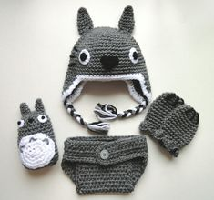 Totoro inspired baby hat mittens diaper cover & rattle by scotako, $47.00