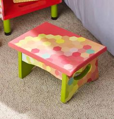 DIY Decorated Stool for Kids made with Furniture Mod Podge and your favorite scrapbook paper!