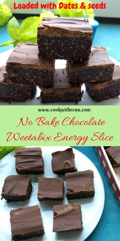 No Bake Chocolate Weetabix Energy Slice This, No Bake Wheetabix slice is easy 5 min Kid friendly recipe and an energy Bar. If honey is replaced with maple syrup it can be completely vegan. Weetabix can be replaced with gluten free Weetabix to make it g Low Carb Brownie Recipe, Brownie Recipes, Chocolate Recipes, Cookie Recipes, Dessert Recipes, Brownie Ideas, Bar Recipes, Baking Recipes, Vegan Recipes