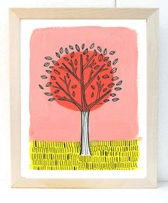 Pink and Yellow Tree Illustrated Print  of by kristensolecki