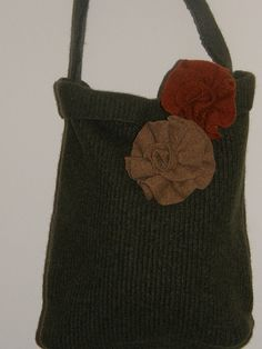 Hunter Green Felted Tote bag two #fall #colored felted flowers by mcleodhandcraftgifts,