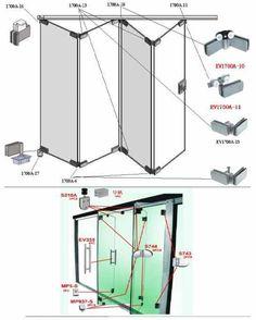 Stainless steel Glass folding door fitting or glass door accessories Más Gate Design, Door Design, House Design, Window Accessories, Room Divider Doors, Room Dividers, Door Fittings, Door Detail, Patio Doors