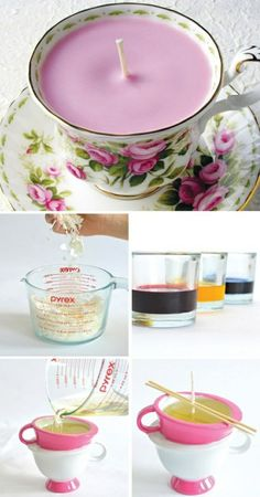 ▷ 1001 + ideas for amasing and simple DIY candles vintage teacup candles, step by step, diy tutorial, mason jar candles, different colours wax Old Candles, Teacup Candles, Pink Candles, Mason Jar Candles, Make Candles, Natural Candles, Homemade Candles, Homemade Gifts, Diy Gifts