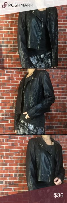 """LC Lauren Conrad Sz L black Moto jacket Nice black moto iacket. Faux leather nice condition no rips stains or smoke smell. Measures 21"""" underarm to underarm 20"""" length 25.5 arm length. Bundle and save offers considered LC Lauren Conrad Jackets & Coats"""