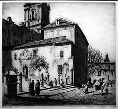 La Parroquia del Sagrario, Malaga drypoint etching by Lionel Lindsay @ 1937 Santa Maria, Drypoint Etching, Street View, Painting, Art, Morelia, Middle Ages, Cities, Historia