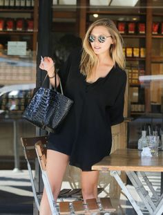 Elizabeth Olsen in Black Mini Dress in West Hollywood