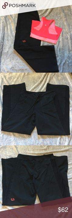 "❄️❄️Thick Lululemon❄️❄️ Extra thick Lululemon black pants. Front pockets with drawstring at waist. Band down the sides are a darker black than the front and back. Label removed. No guarantee of size. Measures 16 1/2"" across top of band. Assuming size 10. Inseam 33"". ❗️No Trades❗️ Proceeds go towards feeding the homeless❗️ lululemon athletica Pants Boot Cut & Flare"