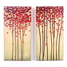 Wood Crafted Abstract Tree Painted Wall Panels ( Set of 2 )