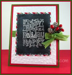 Happy Holiday Card using Stampin'Up Mingle All The Way Stamp Set. So cute! http://www.stampingwithamore.com
