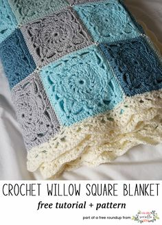 For jessica Crochet Willow Square Blanket. Make multiple willow squares and sew together to make this gorgeous blanket. Make the size fit your needs. Creations Life in my houseful of boys: Makings - Crochet Willow Square Blanket How to Crochet a Solid Gra Granny Square Crochet Pattern, Afghan Crochet Patterns, Crochet Motif, Knitting Patterns, Crochet Afghans, Crochet Granny Square Beginner, Crochet Quilt, Bag Patterns, Knitting Ideas