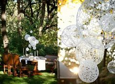 Everyone, I just got some amazing brand name purses,shoes,jewellery and a nice dress from here for CHEAP! If you buy, enter code:atPinterest to save http://www.superspringsales.com - String chandeliers..perfect to decorate an outdoor wedding