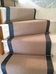Pinstripe stair runner with fabric edge #StairRunner #InteriorDesign #Flooring