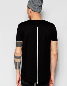 Image 1 of ASOS Super Longline T-Shirt With Zip Back And Mesh Insert