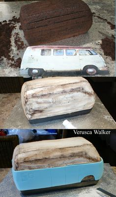 Kombi Van Step-by-step by Verusca - Leuke taarten Camper Van Cake, Camper Cakes, Vw Camper, Mini Tortillas, Cake Decorating Techniques, Cake Decorating Tutorials, Fondant Cakes, Cupcake Cakes, Fondant Bow