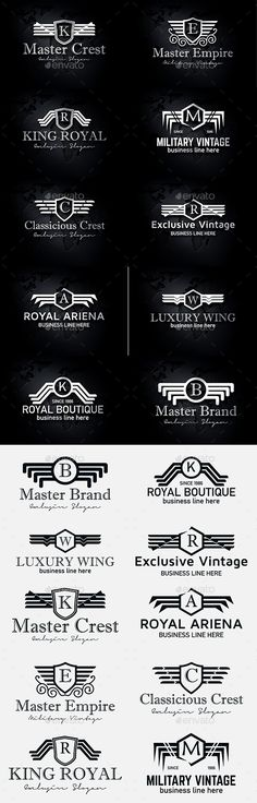Heraldic Royal Luxurious Crest Logos - Badges & Stickers Web Elements