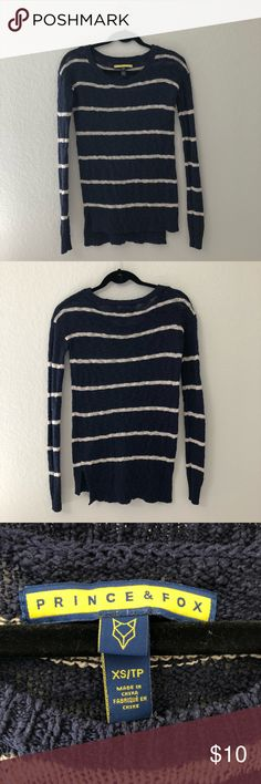Prince & Fox Navy Striped Sweater Cute navy striped sweater. Pretty light, and very comfortable. A tiny bit see through, fourth picture is my hand behind it. Purchased from Aeropostale. Price is flexible, make me an offer! Aeropostale Sweaters Crew & Scoop Necks