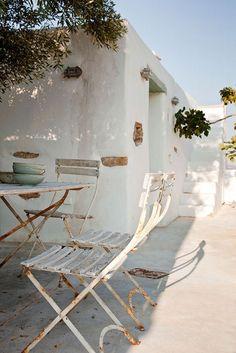 Terresse, maison, blanche, tranquil, soleil, été, rêve, sud, méditerannée
