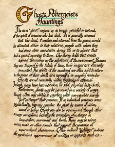 "Book of Shadows:  ""Ghosts, Poltergeists, Hauntings,"" by Charmed-BOS, at deviantART."