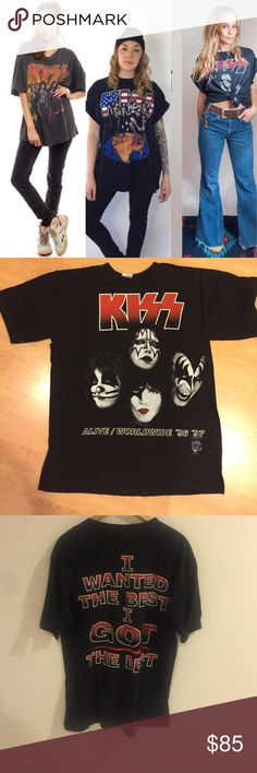 [Vintage] •KISS 96/97 Tour Band Tee• KISS Band Tee from ALIVE / WORLDWIDE Tour 1996 - 1997. Great vintage condition! Unisex Size L. Vintage Tops Tees - Short Sleeve