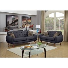 2 pc Collette collection grey faux linen fabric upholstered sofa and love seat set. Features a tufted back . Sofa measures x x H. Love seat measures x x H. Some assembly required. Living Room Sets, Living Room Furniture, Living Room Decor, Gray Furniture, Wooden Furniture, Antique Furniture, Luxury Furniture, Sofa And Loveseat Set, Couch Sofa