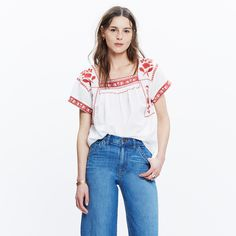 Embroidered Wildfield Top : tops & blouses   Madewell