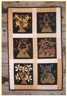 Flower Baskets - Wool Applique Wall Quilt, BOM Subscription Available