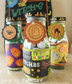 Reuse Frappuccino Bottles for candy and decorate with scrapbook themed paper to hand out
