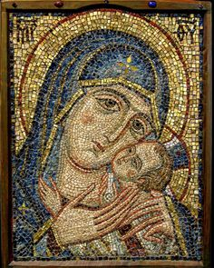 More work by Yury Yarin. This is the Virgin Tenderness, 40x50 cm, 2005. #mosaic #tile #virginmary #tesserae #inlay #inlaid #halo