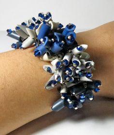 Statement bracelet Chunky bracelet cobalt blue, gray, eggshell sustainable jewelry- Blue Moon