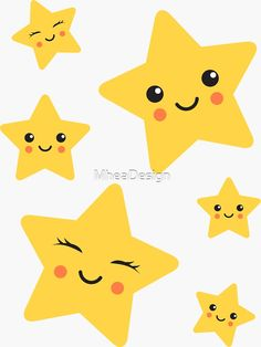 Buy 'Cute kawaii stars sticker collection' by MheaDesign as a Sticker, Transparent Sticker, or Glossy Sticker Pretty Phone Wallpaper, Wallpaper Space, Pretty Wallpapers, Funny Wallpapers, Minimal Wallpaper, Doodle Drawings, Cute Drawings, Mickey Mouse Png, My Moon And Stars