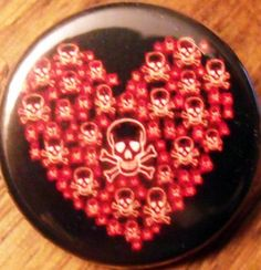 "SKULLS HEART pinback button badge 1.25"" $1.50 plus shipping!"