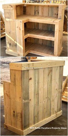 This wood pallet creation do look unique but at the same time many of the house makers are confuse with its utilization. This square shaped pointed structure creation of the wood pallet counter Pallet Counter, Wood Pallet Bar, Diy Pallet Sofa, Wooden Pallet Projects, Pallet Crafts, Diy Pallet Furniture, Diy Furniture Projects, Wooden Pallets, Woodworking Projects