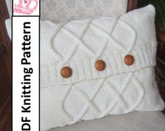 Cable knit pillow cover, knit pattern pdf, Triple Diamond Cable aran pillow cover in two sizes and - PDF KNITTING PATTERN Cable Knitting Patterns, Knit Patterns, Hand Knitting, Knitted Cushion Pattern, Knitted Cushions, Accessoires Divers, Knit Pillow, How To Start Knitting, Etsy