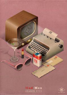 1950s in a miniature vignette ...martini, radio, typewriter, red lipstick, L cigarettes...Mad Men montage