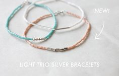light sterling silver trio bracelets - minco jewelry