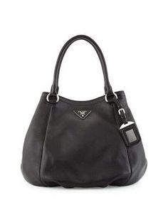 Vitello Daino Small Satchel Bag, Black (Nero) by Prada at Neiman Marcus.