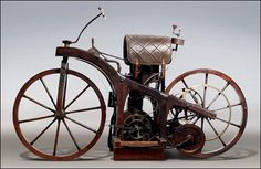 "World's 1st Motorcycle - In November 1885, Gottlieb Daimler installed a smaller version of an engine in a wooden bicycle, creating the first motorcycle (Patent 36-423impff & Sohn ""Vehicle with gas or petroleum drive machine""). It was named the Reitwagen (""riding car""). Maybach rode it for three kilometers (two miles) alongside the river Neckar, from Cannstatt to Untertürkheim, reaching 12 kilometres per hour (7 mph)."