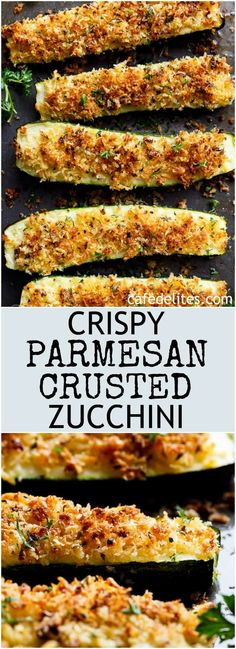 crispy parmesan crusted zucchini are so easy to make! one of the best ways to enjoy zucchini! crispy and crunchy, the perfect side dish or snack! Low Carb Recipes, Cooking Recipes, Healthy Recipes, Low Carb Zucchini Recipes, Diet Recipes, Tapas Recipes, Best Vegetarian Recipes, Simple Recipes, Recipes Dinner