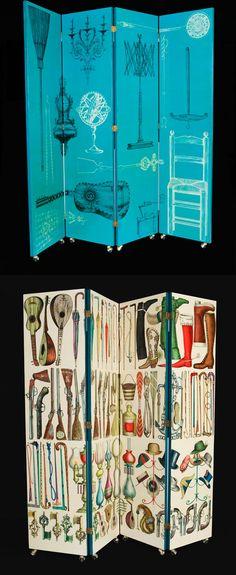 Los famosos biombos de Piero Fornasetti, forman ya parte de su coleccion Vintage. www.italier.pe