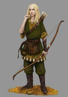 f Wood Elf Ranger Leather Longbow Whip
