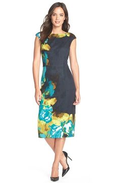 Maggy London 'Brushed Rose' Placed Print Ponte Midi Dress available at #Nordstrom