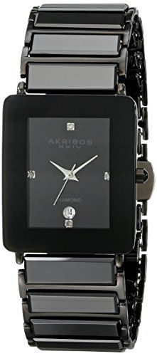 Men's Wrist Watches - Akribos XXIV Mens AK521BLK Quartz Movement Watch with Black Dial and Black Ceramic Inner Link Bracelet ** You can get more details by clicking on the image.