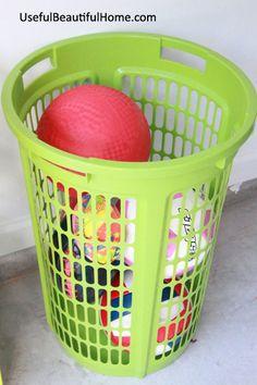 Ball Organization For Garage..tall Laundry Basket. Organize Your Garage,  Great Storage