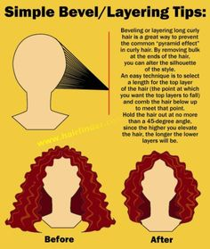 how to bevel hair (Hair Cuts) Cut Curly Hair, Curly Hair Tips, Curly Hair Care, Curly Hair Styles, Natural Hair Styles, Curly Hair Layers, Curly Hair Routine, Curly Gray Hair, Long Curly Layers