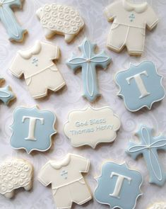 Elegant Baby Boy Baptismal Cookies One Dozen 12 Blue and