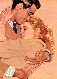 """the-art-of-romance: """" """"Would you hate it if I kissed you? Irinasolemnly shook her head, then went happily and eagerly into his arms… Jac Mars """" Romance Vintage, Romance Arte, Vintage Love, Vintage Ads, Hugs, Comics Vintage, Vintage Couples, Poses References, Arte Pop"""