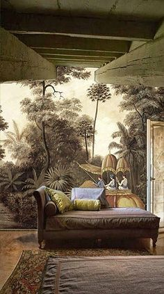 Beautifully nostalgic decor combines the heritage of a Period home together with mural of a Colonial scene merged with dark, dramatic colours for a room full of character. Scenic Wallpaper, Home Wallpaper, Interior Wallpaper, Inspiration Wand, Interior Inspiration, Mural Art, Wall Murals, Deco Nature, British Colonial Style