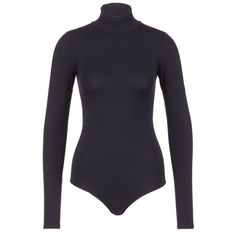 Theory 'Tace' turtleneck long  sleeve jersey bodysuit (3.005 ARS) ❤ liked on Polyvore featuring intimates, shapewear and black